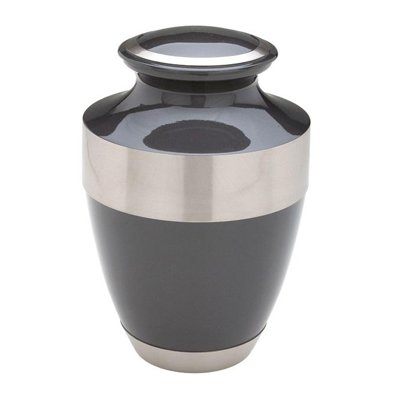 Black Silver Band Keepsake Urn