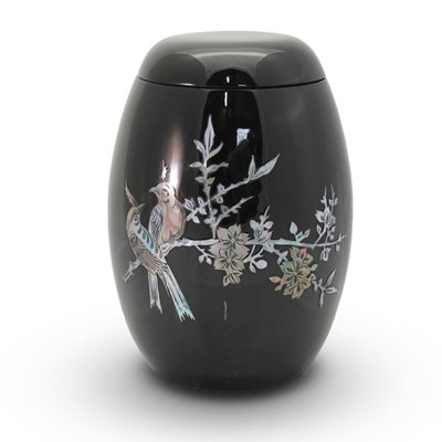Pearl Black Birds Keepsake Urn